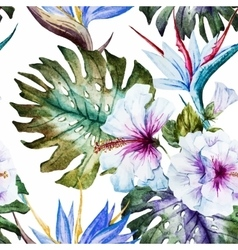 Watercolor hibiscus patterns vector