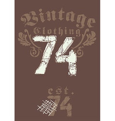 Vintage clothing 74 print vector
