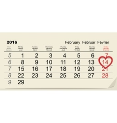 February 14 2016 valentines day calendar vector