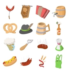 Oktoberfest party cartoon icons vector image