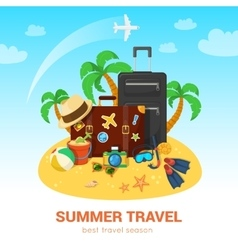 Exotic island and travel accessories vector