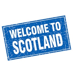 Scotland blue square grunge welcome to stamp vector