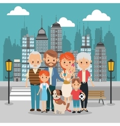 Parents grandparents and kids icon family design vector