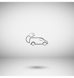 Flat paper cut style icon of an eco car vector