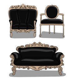 a set of furniture a large chair a chair and a vector image vector image