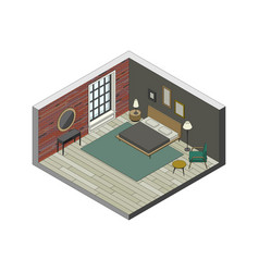 bedroom in isometric view vector image