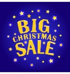 Big christmas sale with stars vector image