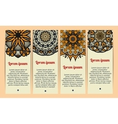 Business cards with vintage circular patterns vector