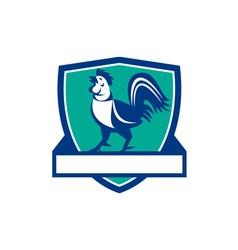 Chicken Rooster Crowing Shield Retro vector image