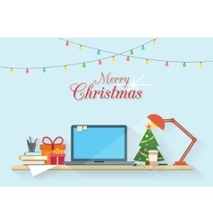 Christmas workplace vector image vector image
