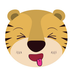 Colorful caricature cute face of tiger sticking vector