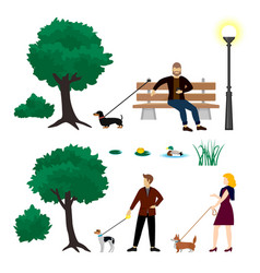 Colorful city park elements collection vector