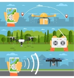 Drone technology concepts with flying robots vector