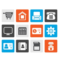 Flat Business office and website icons vector image vector image