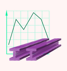 Flat shading style icon falling graph vector