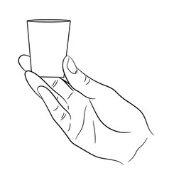 hand holding a small glass on white background vector image