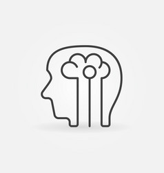 Human head with brain icon - artificial vector