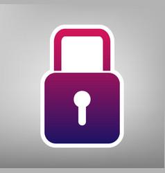 Lock sign purple gradient vector
