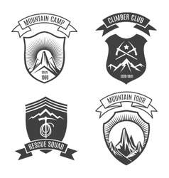 Mountains retro badges set vector