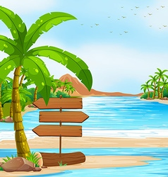 Ocean view with signs and tree vector image