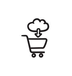 Online shopping sketch icon vector