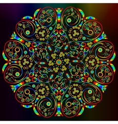 Ornamental abstract round lace rainbow colored pat vector