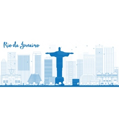 Outline Rio de Janeiro skyline vector image vector image