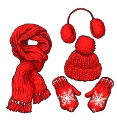 Set of red knotted scarf hat ear muffs and vector