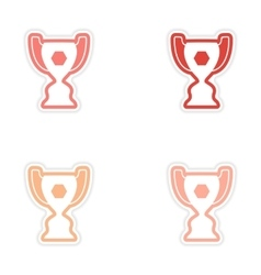 Set of stickers brazilian football cup on white vector