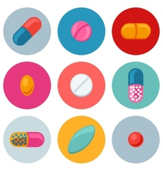 Set of various pills and capsules icons vector image vector image