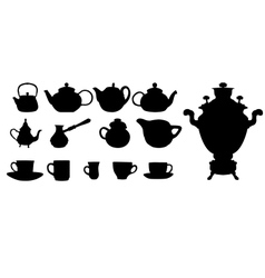 Silhouette of Drinks Cafe Icons vector image