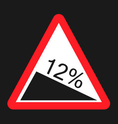 Steep descent sign flat icon vector