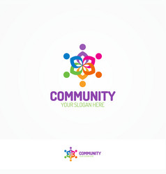 support community logo consisting as team people vector image vector image