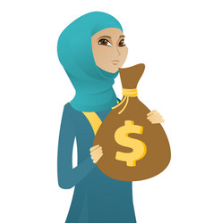 Upset muslim business woman with bag full of taxes vector