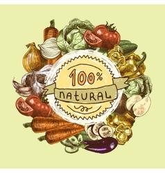 Vegetables sketch background vector image vector image