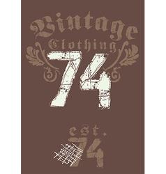 Vintage clothing 74 print vector