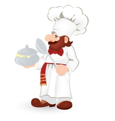 Cook in white uniform vector
