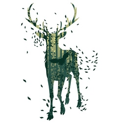 Deer and Abstract Forest Landscape3 vector image