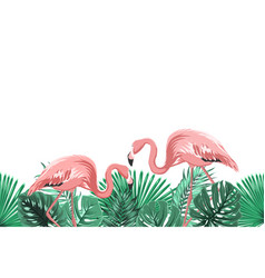 Tropical green leaves pink flamingo footer element vector