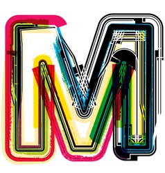 Colorful grunge font letter m vector