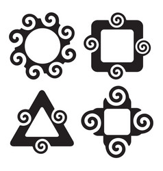 Abstract silhouette spiral shapes frame set vector