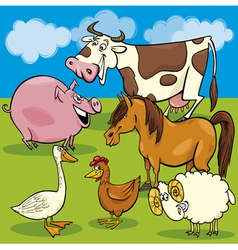 Cartoon farm animals group vector