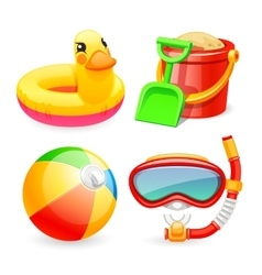 Colorful beach toys icons set vector