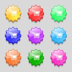 Shopping cart icon sign symbol on nine wavy vector