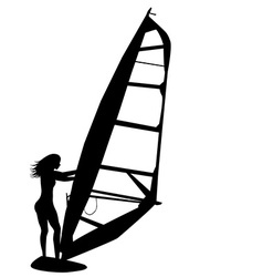 Woman windsurfing vector