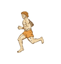 Barefoot runner running side etching vector