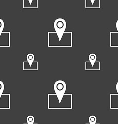 Map pointer icon sign seamless pattern on a gray vector