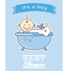 Baby boy in bath vector