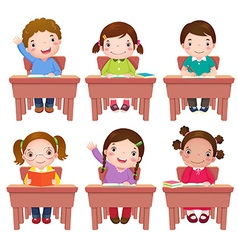 School kids sitting on table vector
