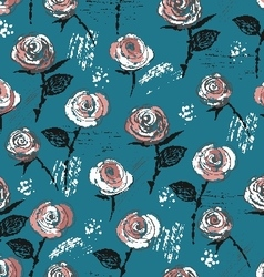 Seamless pattern ink vintage style roses vector